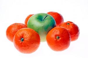 maçã e tangerinas