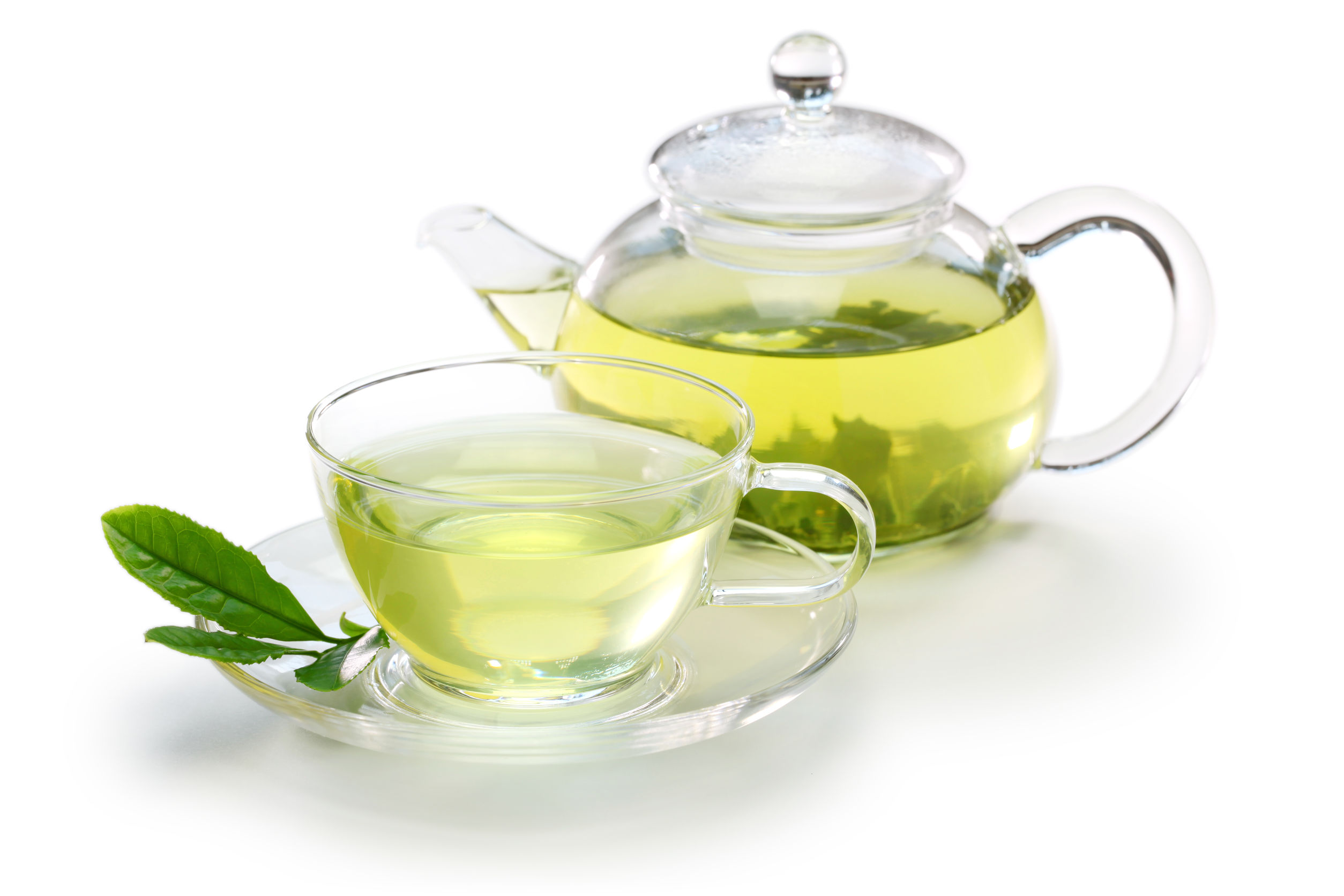 39663506 - glass cup of japanese green tea and teapot isolated on white background