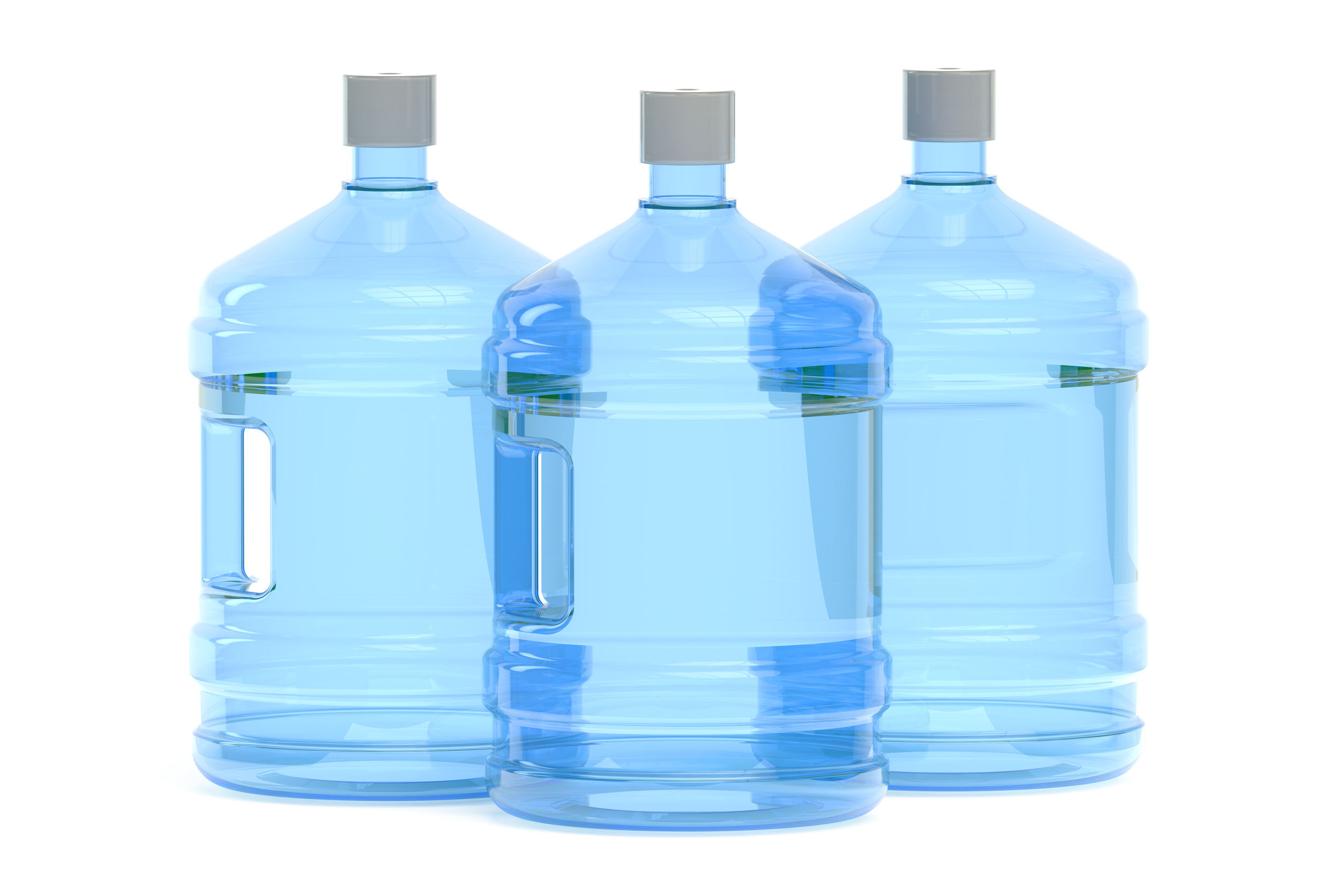 48107535 - big bottles of water isolated on white background