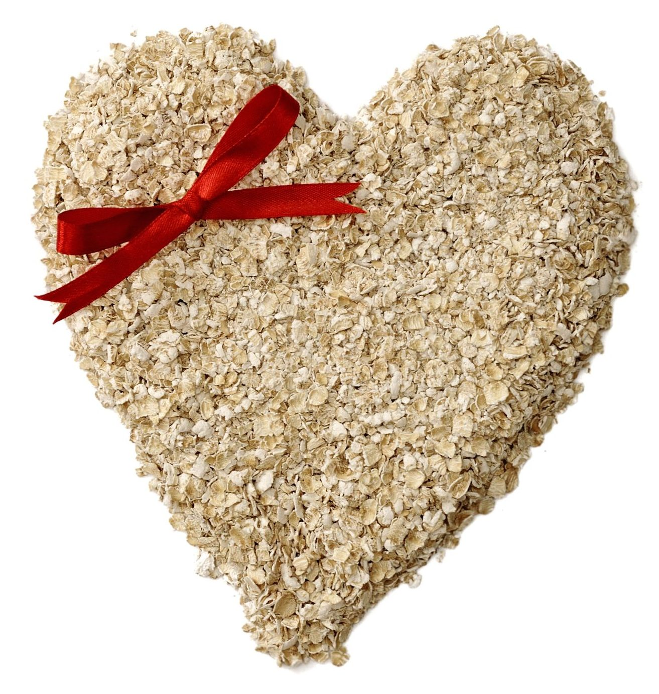 15565042 - heart shape oatmeal isolated over white background