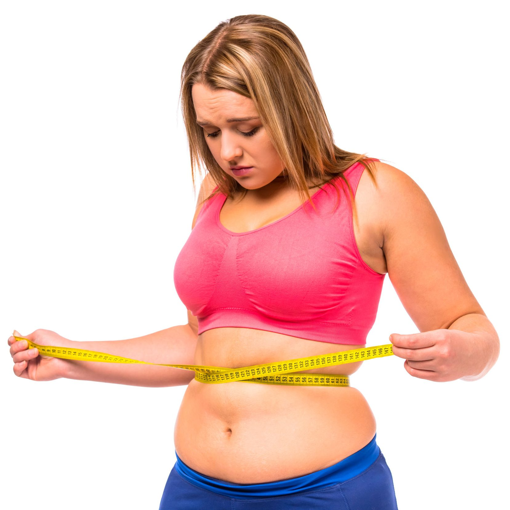 47971154 - fat woman unhappy with her body, the diet, the body measures the isolated white background